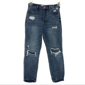 PACSUN | Medium Wash Distressed | Mom Jeans